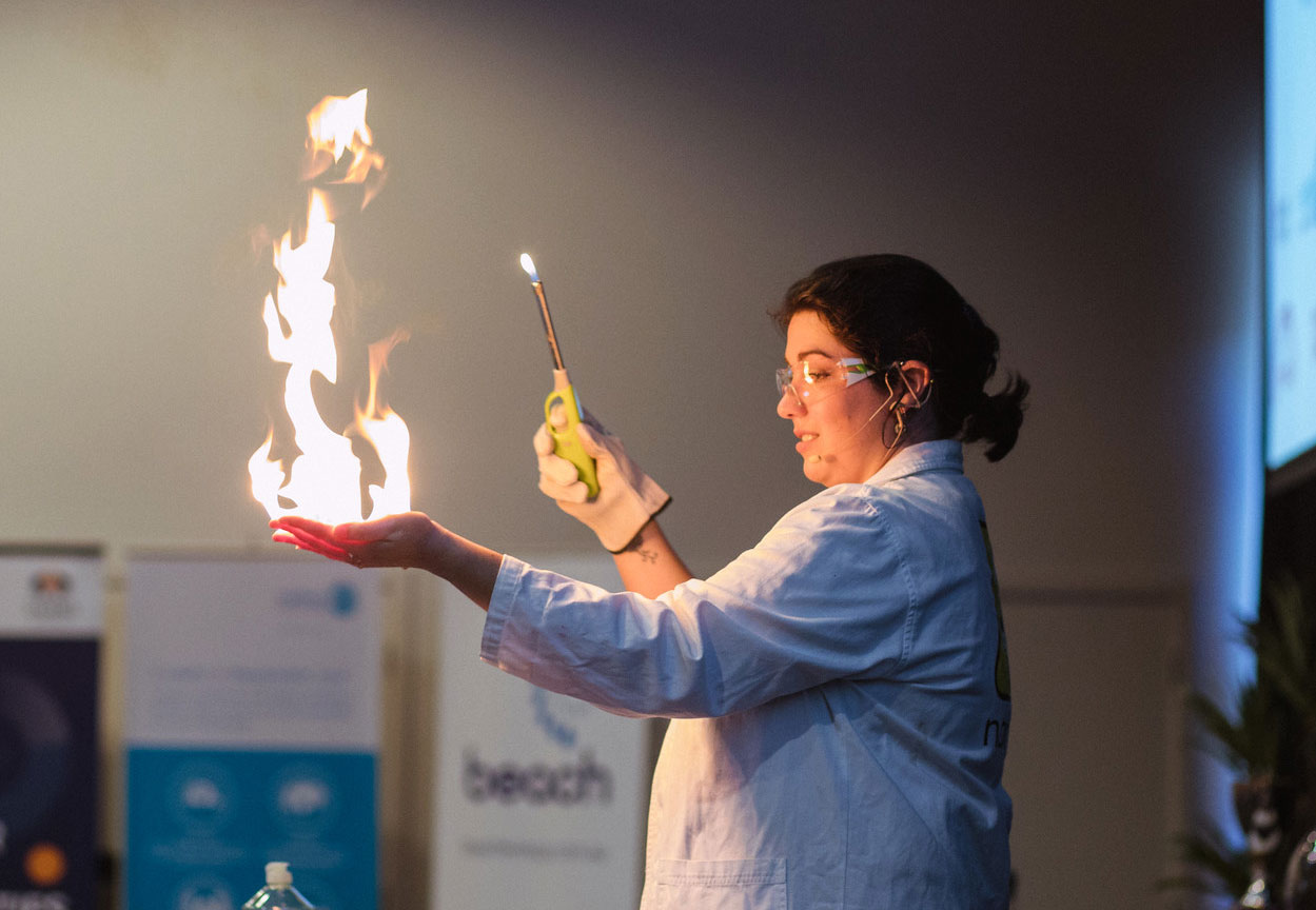 Dr. Kate Sparks playing with fire